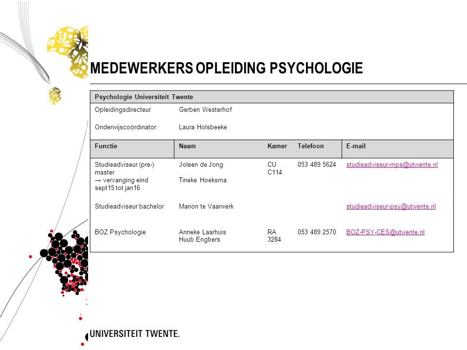 MEDEWERKERS OPLEIDING PSYCHOLOGIE Psychologie Universiteit Twente OpleidingsdirecteurGerben Westerhof OnderwijscoördinatorLaura Holsbeeke FunctieNaamK