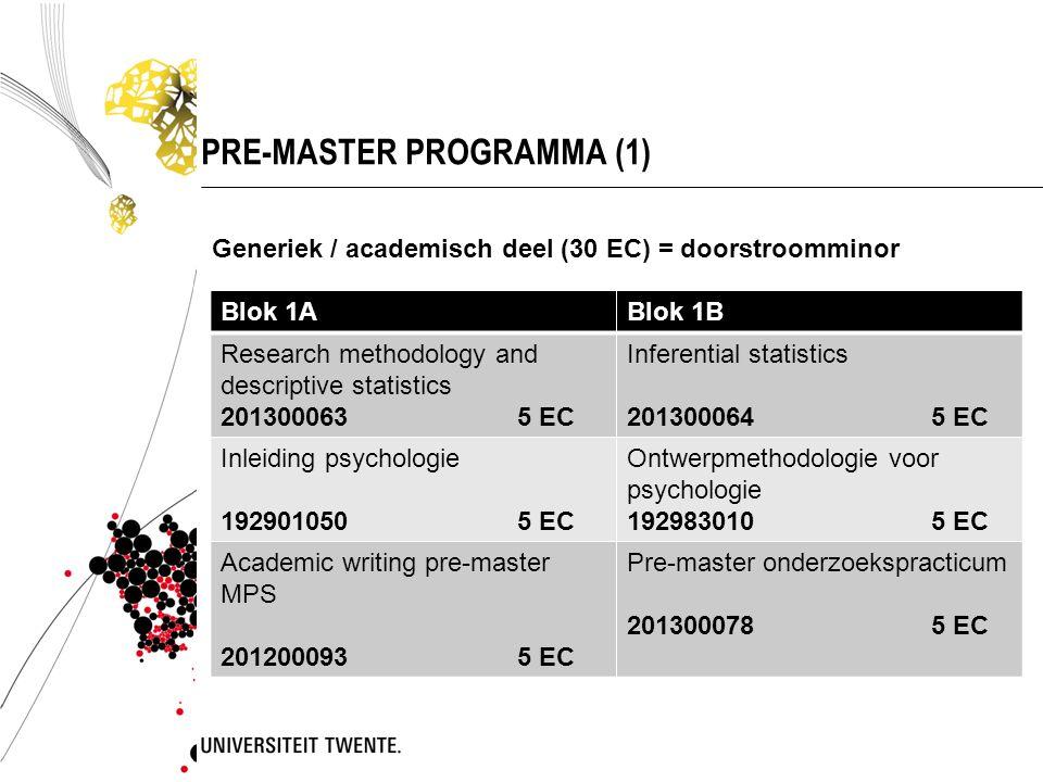 PRE-MASTER PROGRAMMA (1) Blok 1ABlok 1B Research methodology and descriptive statistics 201300063 5 EC Inferential statistics 201300064 5 EC Inleiding