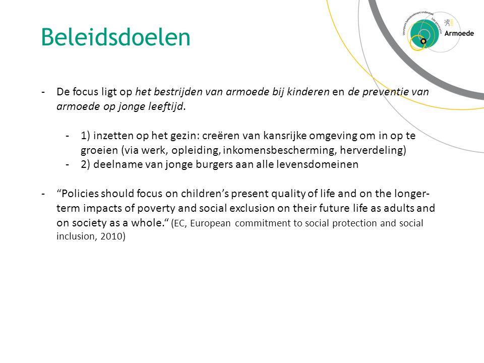 Beleidsdoelen -De focus ligt op het bestrijden van armoede bij kinderen en de preventie van armoede op jonge leeftijd.