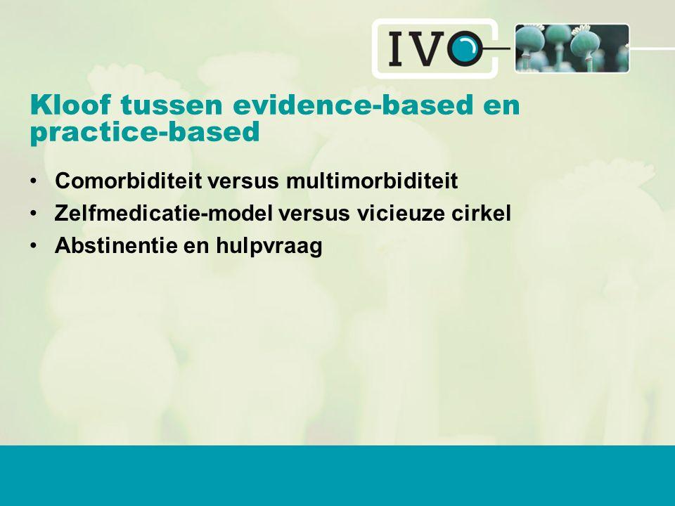 Kloof tussen evidence-based en practice-based Comorbiditeit versus multimorbiditeit Zelfmedicatie-model versus vicieuze cirkel Abstinentie en hulpvraag