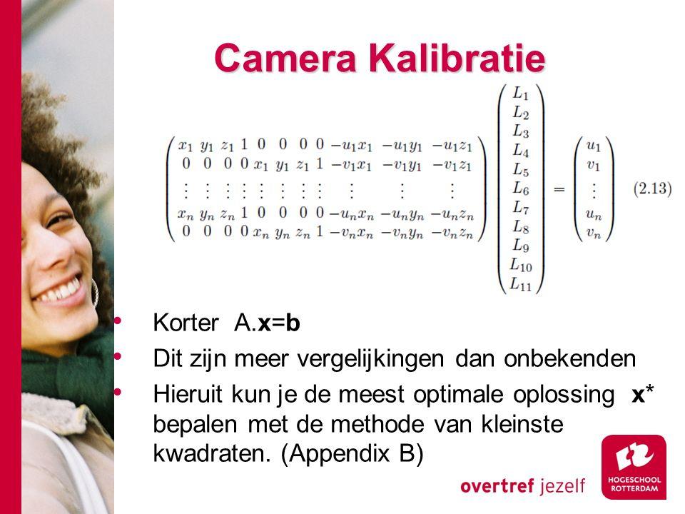 # Camera Kalibratie Korter A.x=b Dit zijn meer vergelijkingen dan onbekenden Hieruit kun je de meest optimale oplossing x* bepalen met de methode van kleinste kwadraten.