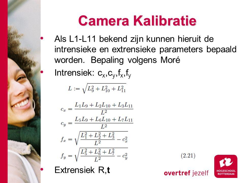 # Camera Kalibratie Camera Kalibratie Als L1-L11 bekend zijn kunnen hieruit de intrensieke en extrensieke parameters bepaald worden.
