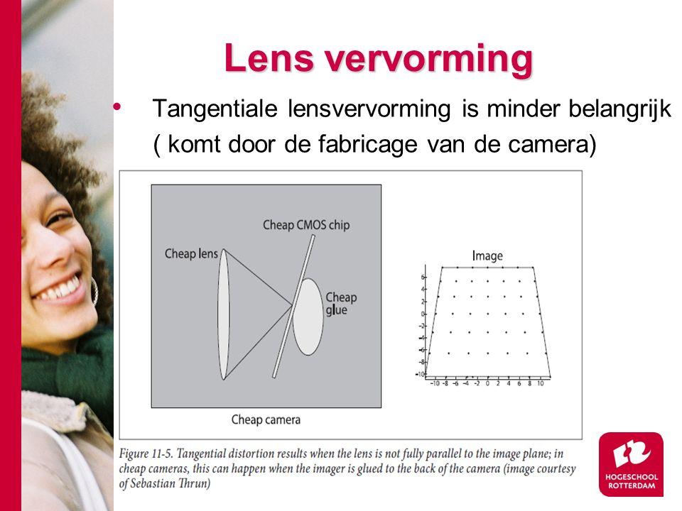 # Lens vervorming Tangentiale lensvervorming is minder belangrijk ( komt door de fabricage van de camera)