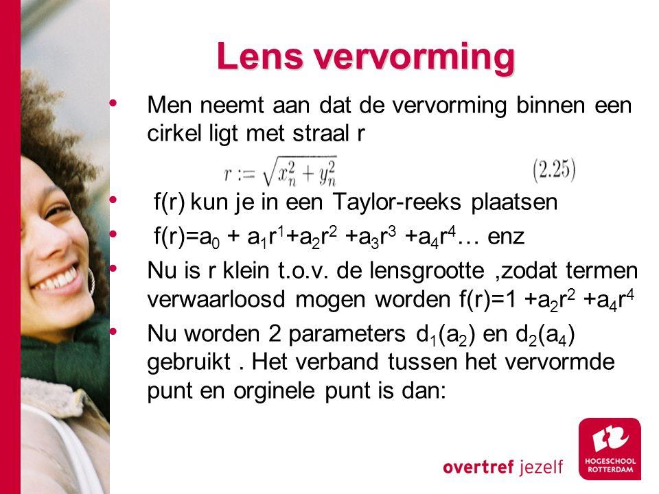 # Lens vervorming Men neemt aan dat de vervorming binnen een cirkel ligt met straal r f(r) kun je in een Taylor-reeks plaatsen f(r)=a 0 + a 1 r 1 +a 2 r 2 +a 3 r 3 +a 4 r 4 … enz Nu is r klein t.o.v.
