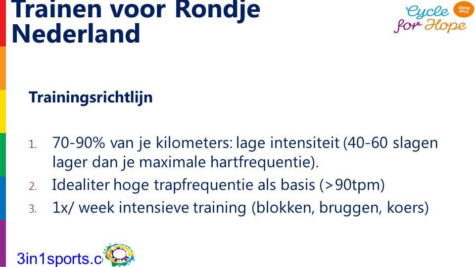 Trainen voor Rondje Nederland Trainingsrichtlijn 1. 70-90% van je kilometers: lage intensiteit (40-60 slagen lager dan je maximale hartfrequentie). 2.