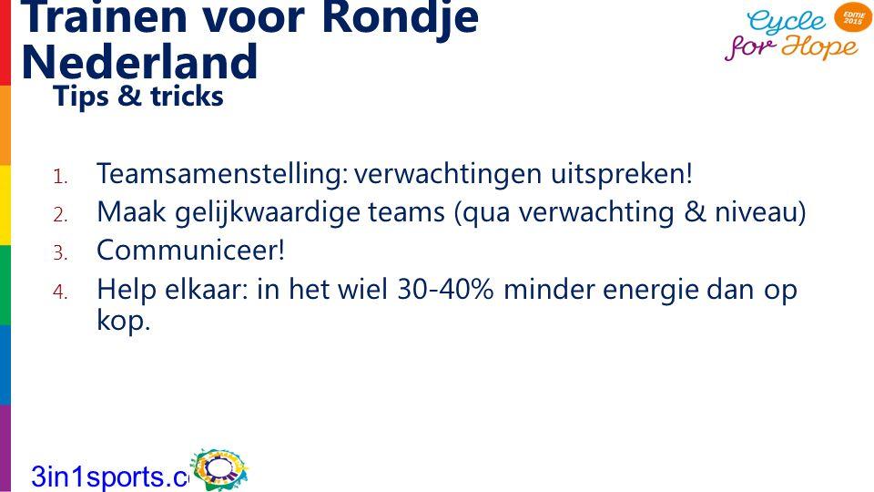 Trainen voor Rondje Nederland Tips & tricks 1. Teamsamenstelling: verwachtingen uitspreken! 2. Maak gelijkwaardige teams (qua verwachting & niveau) 3.