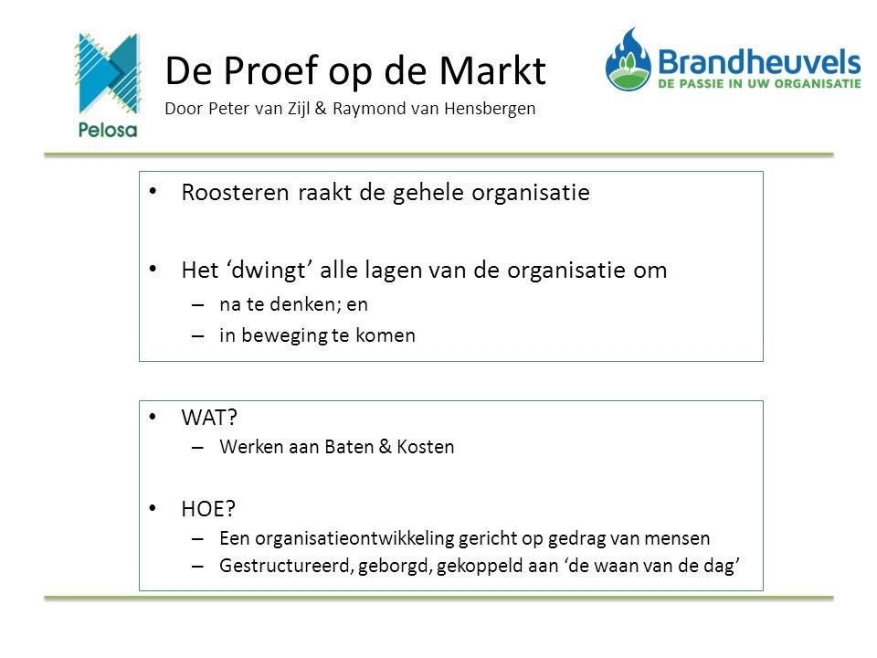De Proef op de Markt Door Peter van Zijl & Raymond van Hensbergen Roosteren raakt de gehele organisatie Het 'dwingt' alle lagen van de organisatie om – na te denken; en – in beweging te komen WAT.