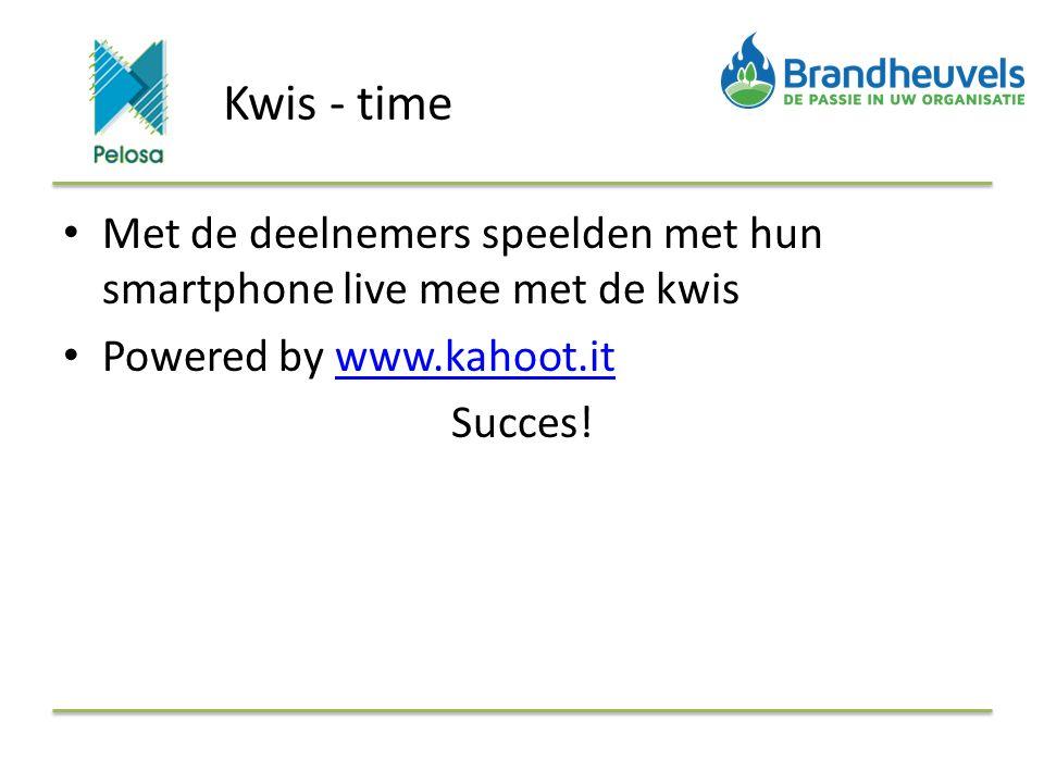 Kwis - time Met de deelnemers speelden met hun smartphone live mee met de kwis Powered by www.kahoot.itwww.kahoot.it Succes!