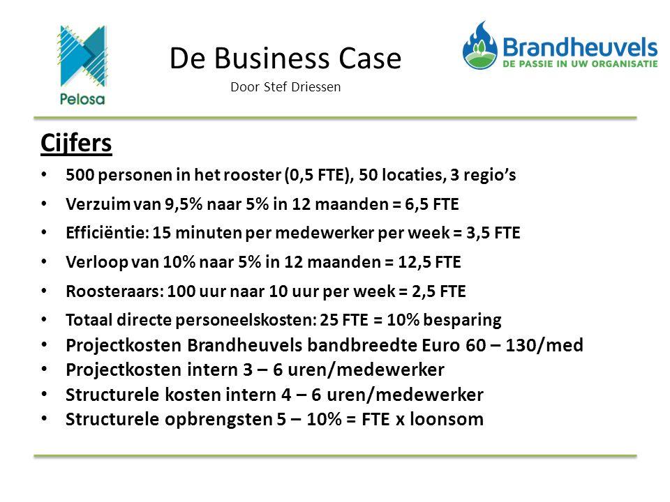Cijfers 500 personen in het rooster (0,5 FTE), 50 locaties, 3 regio's Verzuim van 9,5% naar 5% in 12 maanden = 6,5 FTE Efficiëntie: 15 minuten per medewerker per week = 3,5 FTE Verloop van 10% naar 5% in 12 maanden = 12,5 FTE Roosteraars: 100 uur naar 10 uur per week = 2,5 FTE Totaal directe personeelskosten: 25 FTE = 10% besparing Projectkosten Brandheuvels bandbreedte Euro 60 – 130/med Projectkosten intern 3 – 6 uren/medewerker Structurele kosten intern 4 – 6 uren/medewerker Structurele opbrengsten 5 – 10% = FTE x loonsom De Business Case Door Stef Driessen