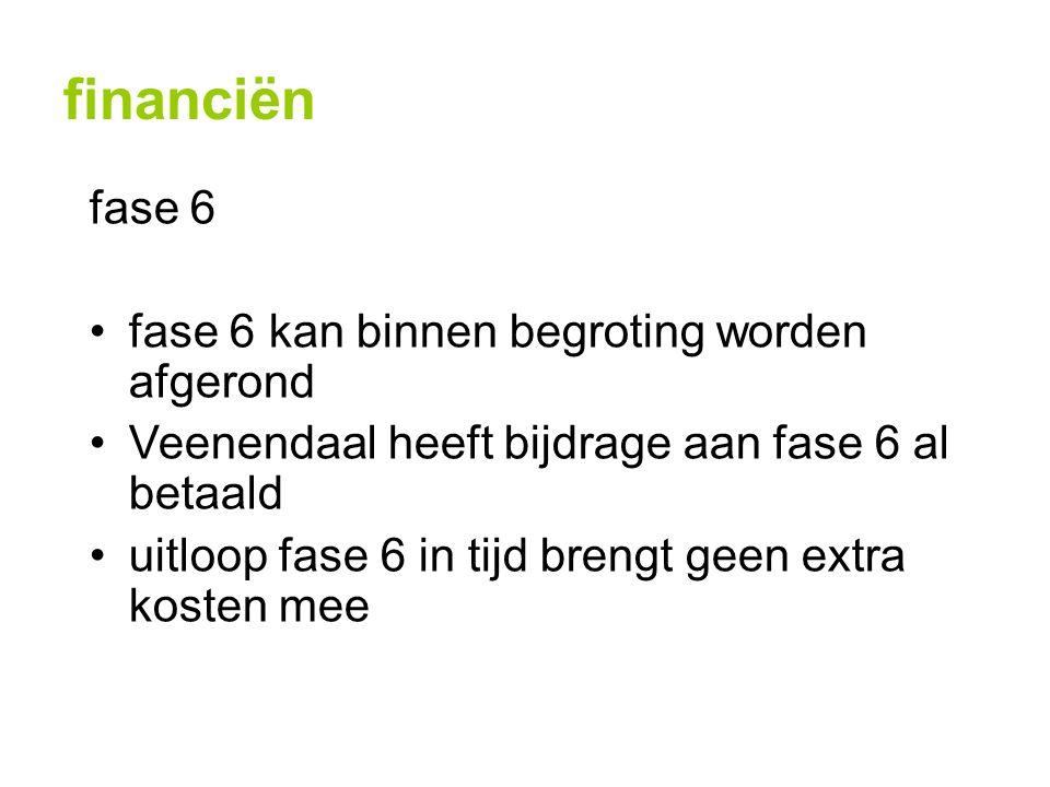financiën fase 6 fase 6 kan binnen begroting worden afgerond Veenendaal heeft bijdrage aan fase 6 al betaald uitloop fase 6 in tijd brengt geen extra kosten mee