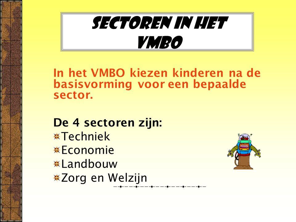 Sectoren in het Vmbo In het VMBO kiezen kinderen na de basisvorming voor een bepaalde sector. De 4 sectoren zijn: Techniek Economie Landbouw Zorg en W