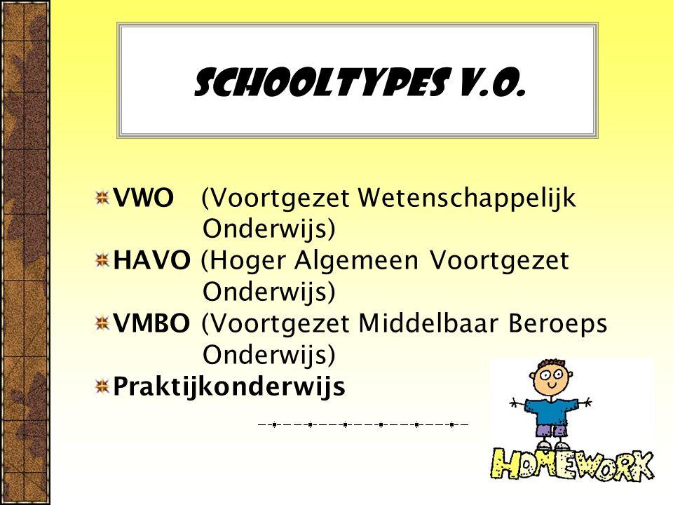 Schooltypes V.O. VWO (Voortgezet Wetenschappelijk Onderwijs) HAVO (Hoger Algemeen Voortgezet Onderwijs) VMBO (Voortgezet Middelbaar Beroeps Onderwijs)