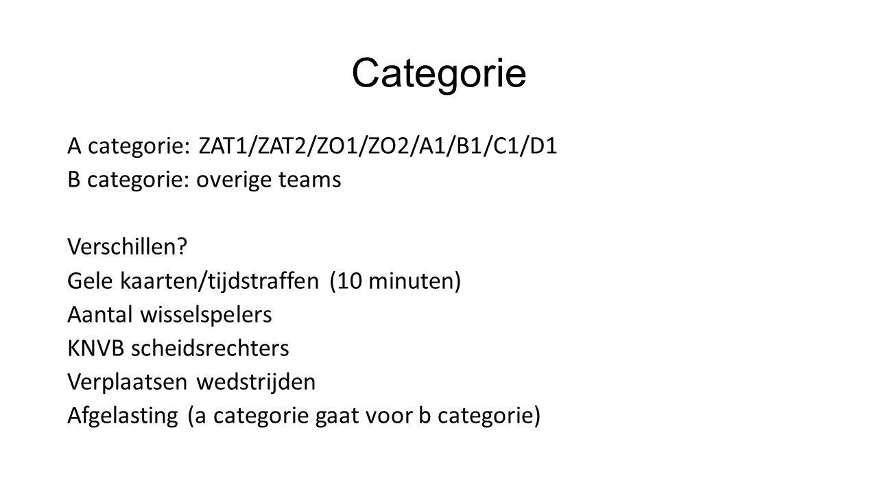 Categorie A categorie:ZAT1/ZAT2/ZO1/ZO2/A1/B1/C1/D1 B categorie: overige teams Verschillen.