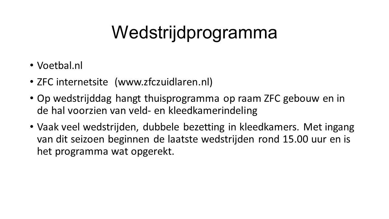 Wedstrijdprogramma Voetbal.nl ZFC internetsite (www.zfczuidlaren.nl) Op wedstrijddag hangt thuisprogramma op raam ZFC gebouw en in de hal voorzien van veld- en kleedkamerindeling Vaak veel wedstrijden, dubbele bezetting in kleedkamers.