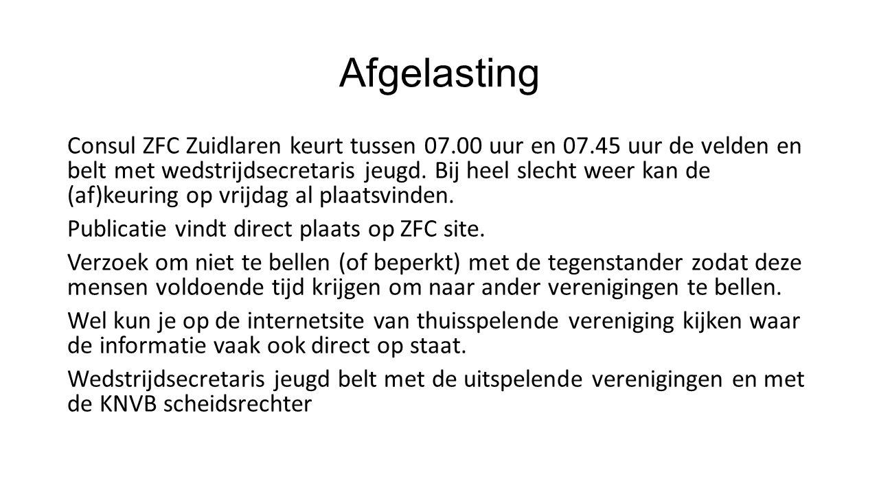 Afgelasting Consul ZFC Zuidlaren keurt tussen 07.00 uur en 07.45 uur de velden en belt met wedstrijdsecretaris jeugd.