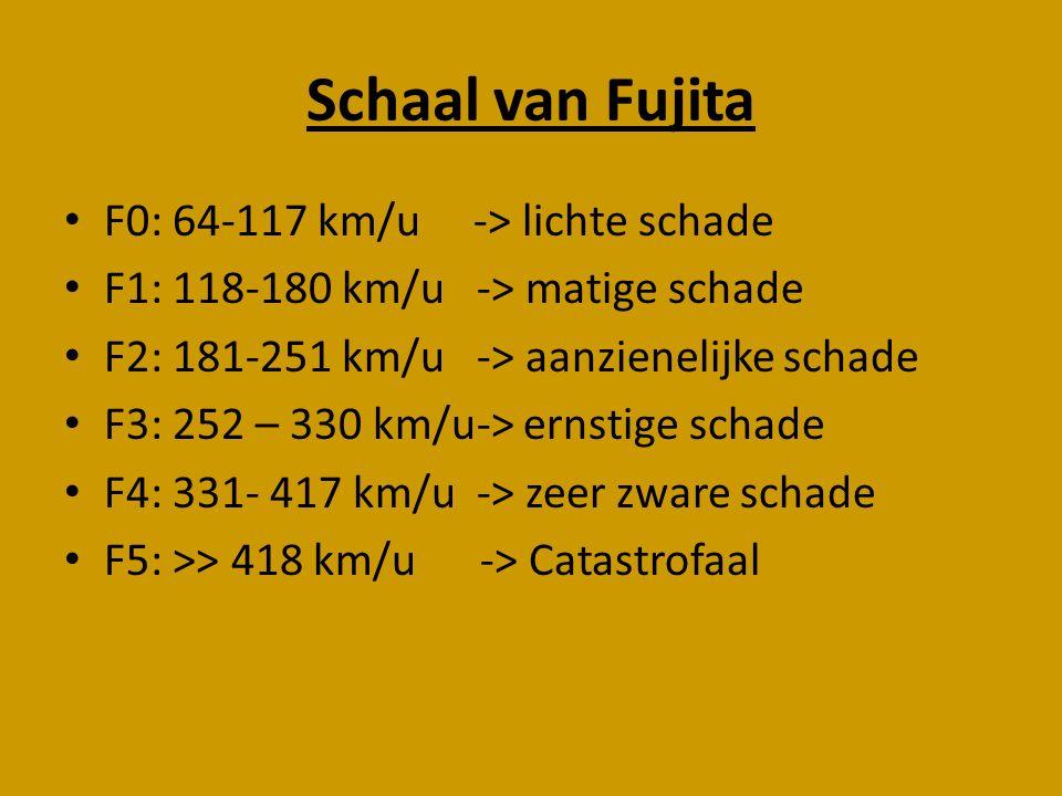 Schaal van Fujita F0: 64-117 km/u -> lichte schade F1: 118-180 km/u -> matige schade F2: 181-251 km/u -> aanzienelijke schade F3: 252 – 330 km/u-> ern
