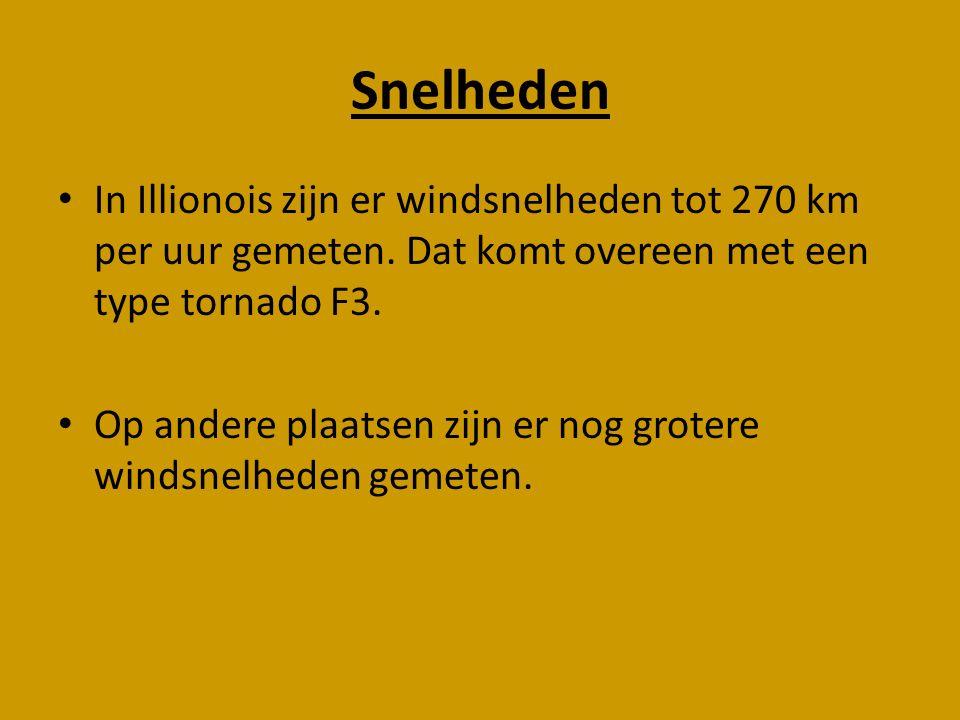 Snelheden In Illionois zijn er windsnelheden tot 270 km per uur gemeten. Dat komt overeen met een type tornado F3. Op andere plaatsen zijn er nog grot