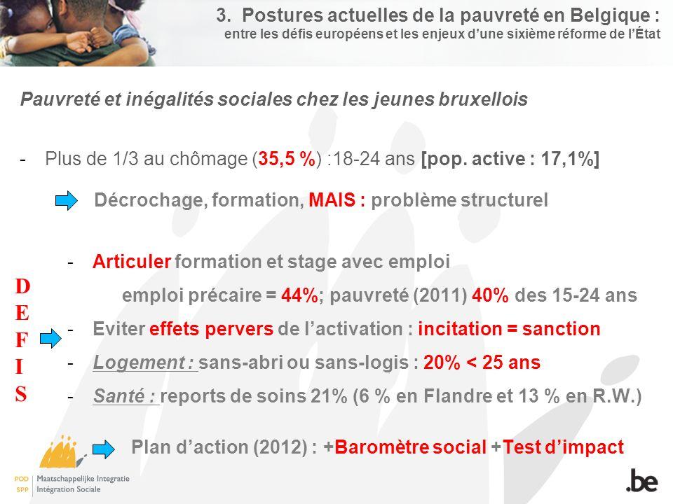 3. Postures actuelles de la pauvreté en Belgique : entre les défis européens et les enjeux d'une sixième réforme de l'État Pauvreté et inégalités soci
