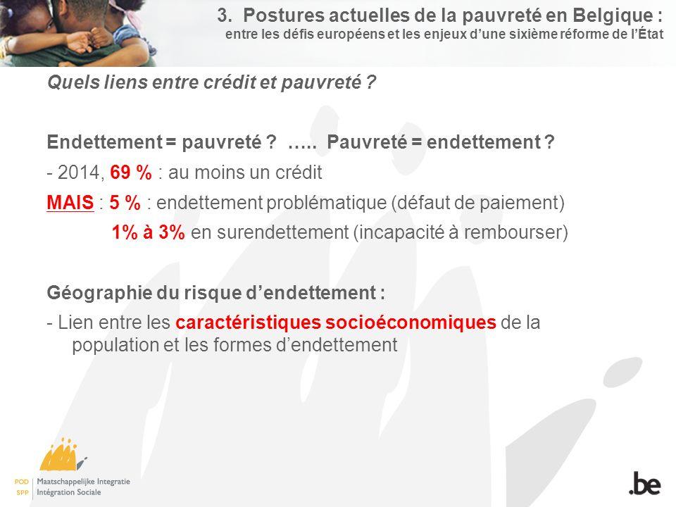 3. Postures actuelles de la pauvreté en Belgique : entre les défis européens et les enjeux d'une sixième réforme de l'État Quels liens entre crédit et