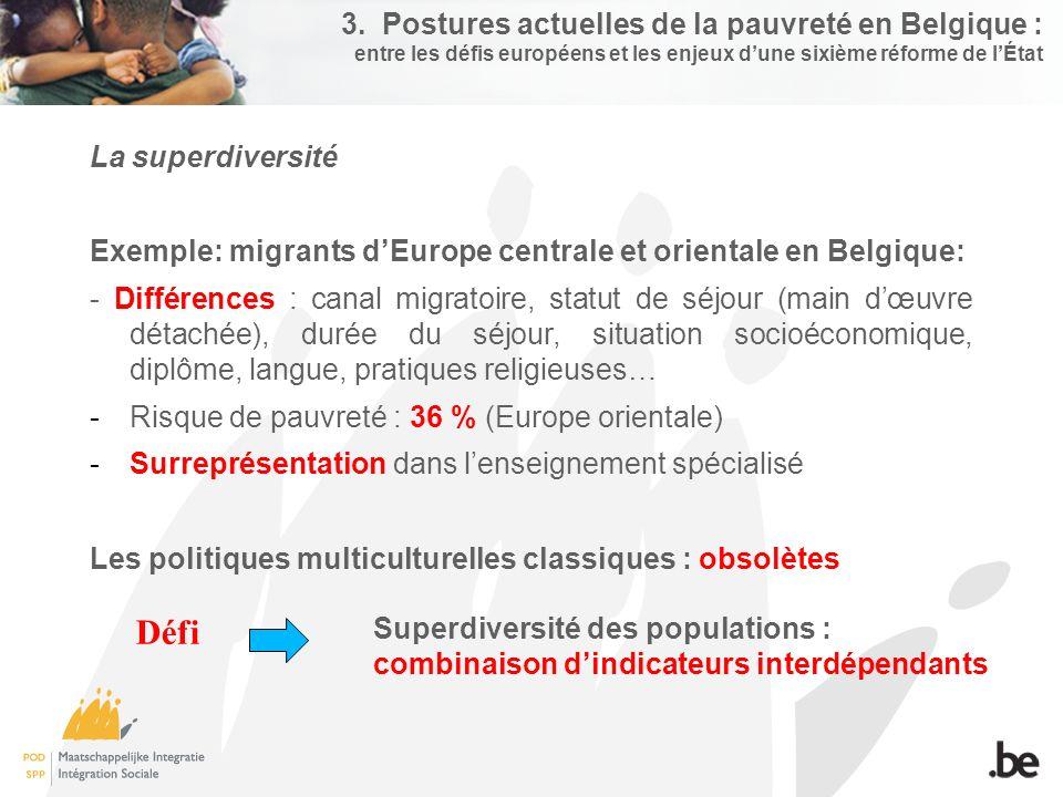 3. Postures actuelles de la pauvreté en Belgique : entre les défis européens et les enjeux d'une sixième réforme de l'État La superdiversité Exemple: