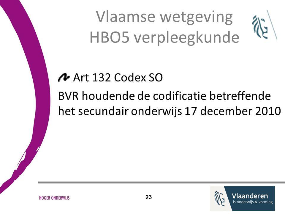 Vlaamse wetgeving HBO5 verpleegkunde Art 132 Codex SO BVR houdende de codificatie betreffende het secundair onderwijs 17 december 2010 23