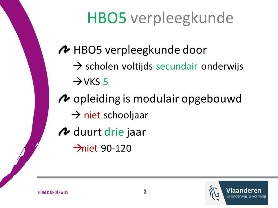 HBO5 verpleegkunde door  scholen voltijds secundair onderwijs  VKS 5 opleiding is modulair opgebouwd  niet schooljaar duurt drie jaar  niet 90-120 3 HBO5 verpleegkunde