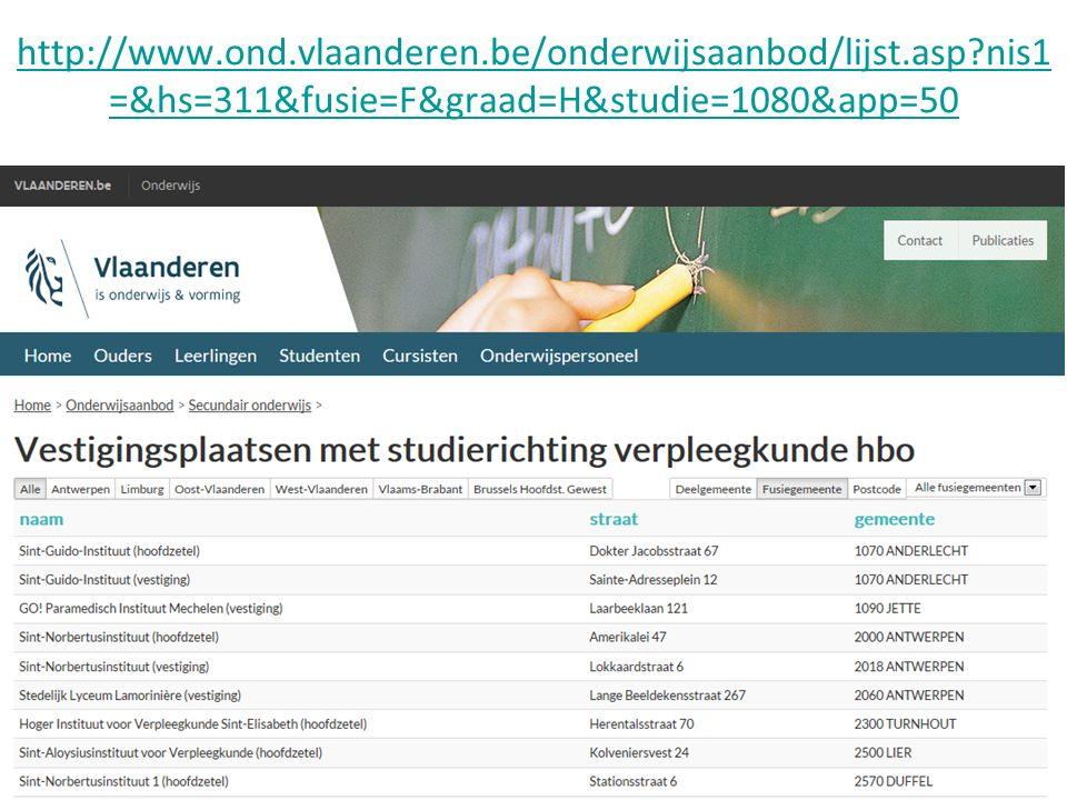 http://www.ond.vlaanderen.be/onderwijsaanbod/lijst.asp nis1 =&hs=311&fusie=F&graad=H&studie=1080&app=50 5