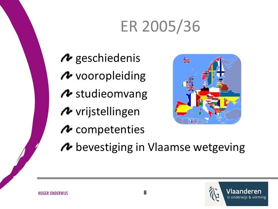 ER 2005/36 geschiedenis vooropleiding studieomvang vrijstellingen competenties bevestiging in Vlaamse wetgeving 8