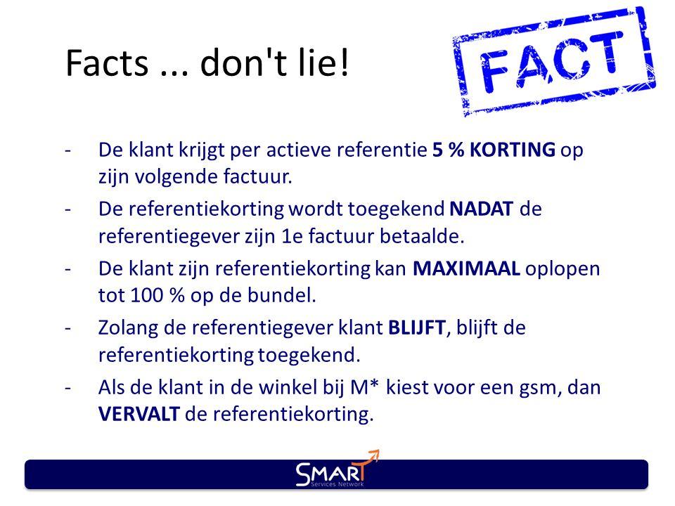 Facts... don't lie! -De klant krijgt per actieve referentie 5 % KORTING op zijn volgende factuur. -De referentiekorting wordt toegekend NADAT de refer