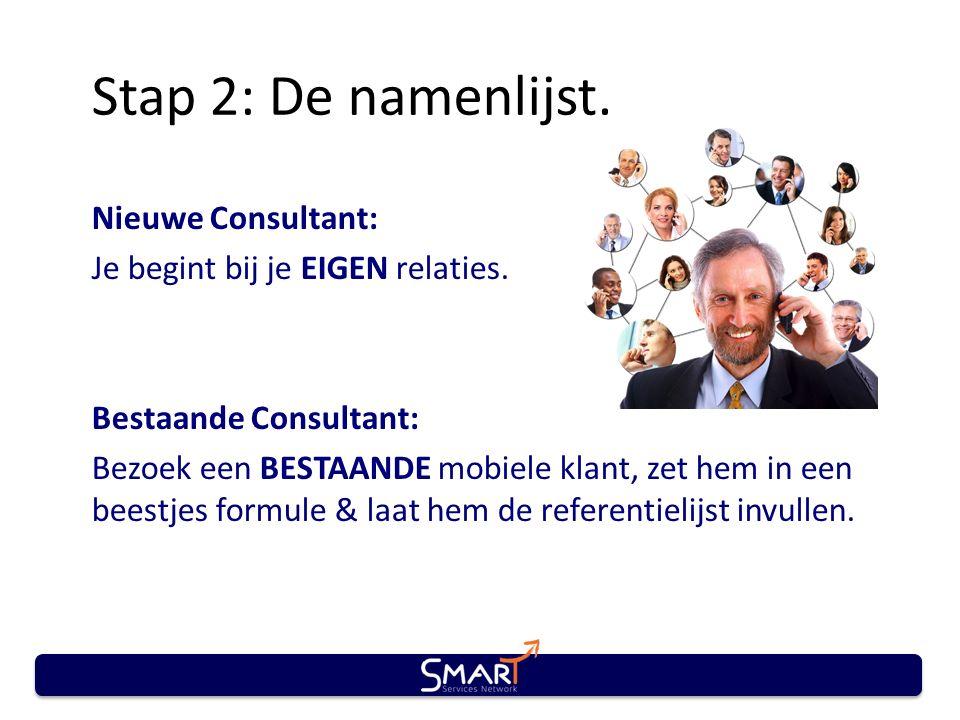 Stap 2: De namenlijst. Nieuwe Consultant: Je begint bij je EIGEN relaties. Bestaande Consultant: Bezoek een BESTAANDE mobiele klant, zet hem in een be