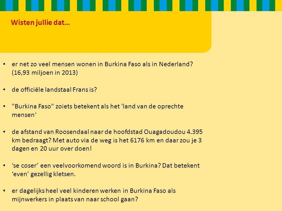 Wisten jullie dat… er net zo veel mensen wonen in Burkina Faso als in Nederland.