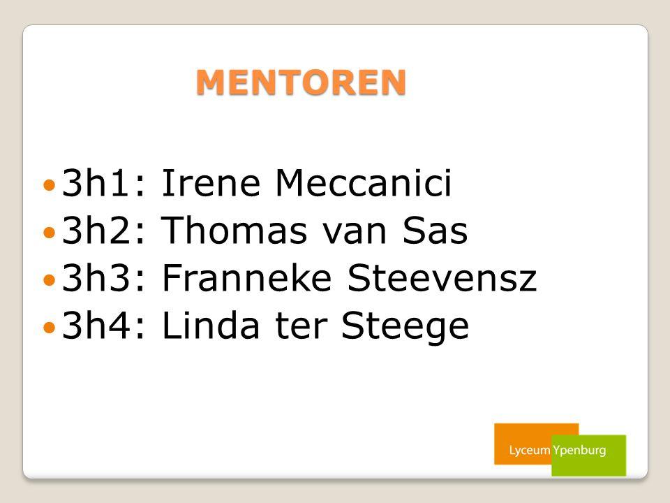 MENTOREN 3h1: Irene Meccanici 3h2: Thomas van Sas 3h3: Franneke Steevensz 3h4: Linda ter Steege