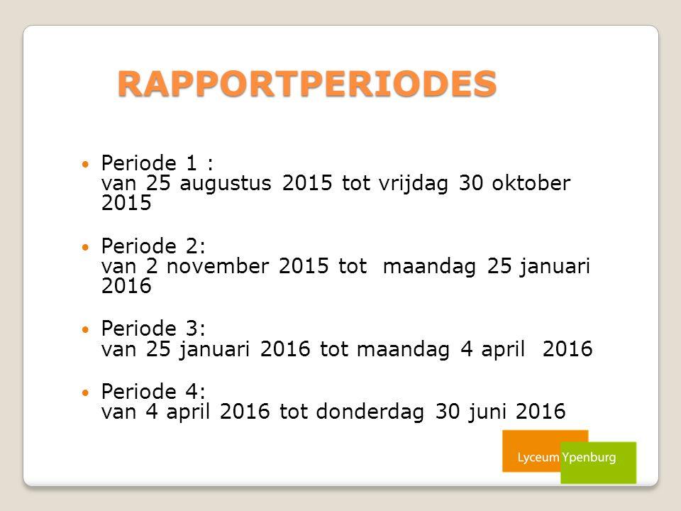 RAPPORTPERIODES Periode 1 : van 25 augustus 2015 tot vrijdag 30 oktober 2015 Periode 2: van 2 november 2015 tot maandag 25 januari 2016 Periode 3: van