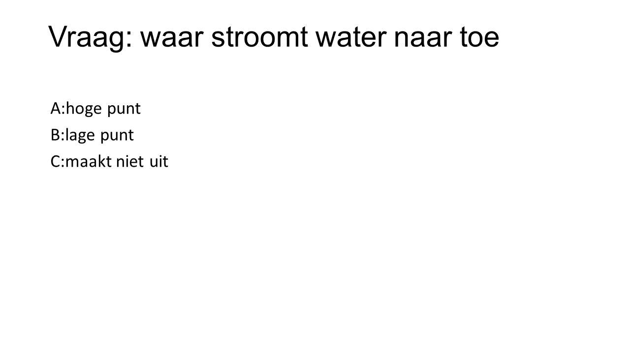 Vraag: waar stroomt water naar toe A:hoge punt B:lage punt C:maakt niet uit