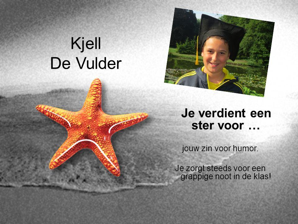 Kjell De Vulder Je verdient een ster voor … jouw zin voor humor. Je zorgt steeds voor een grappige noot in de klas!