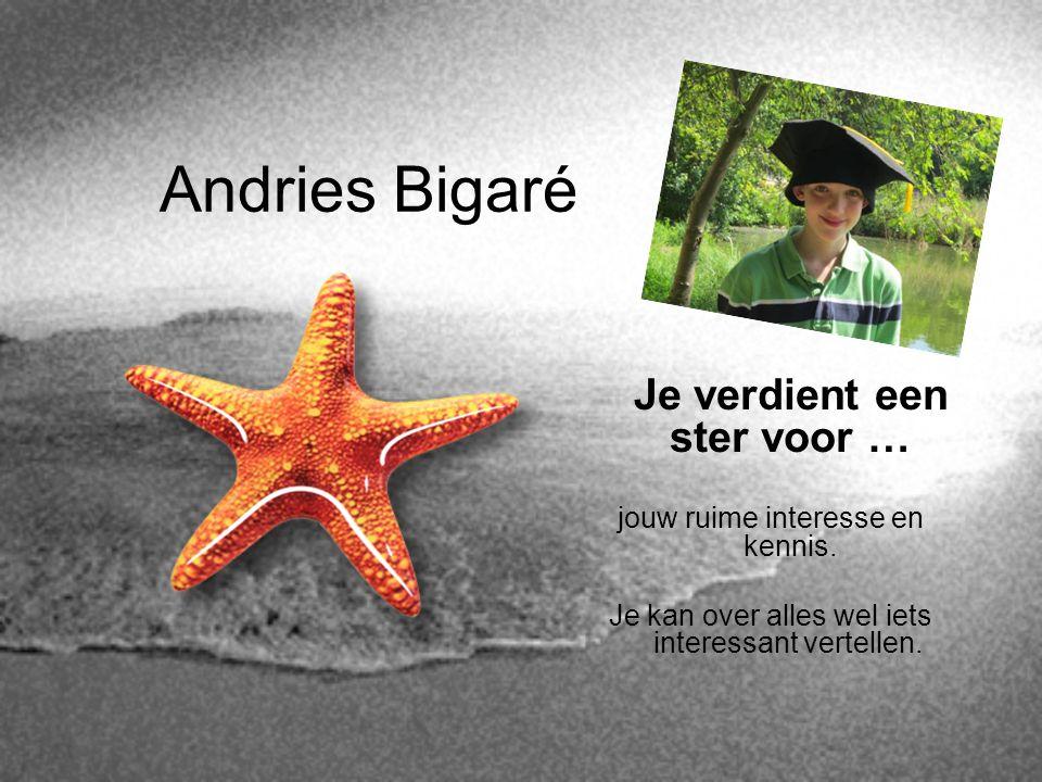 Andries Bigaré Je verdient een ster voor … jouw ruime interesse en kennis. Je kan over alles wel iets interessant vertellen.