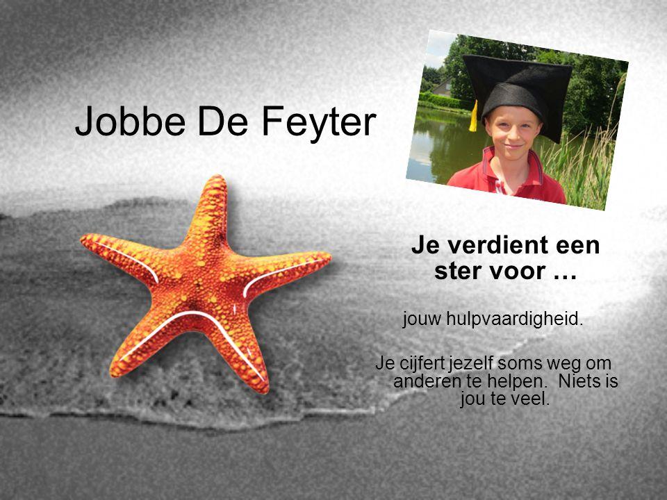 Jobbe De Feyter Je verdient een ster voor … jouw hulpvaardigheid. Je cijfert jezelf soms weg om anderen te helpen. Niets is jou te veel.