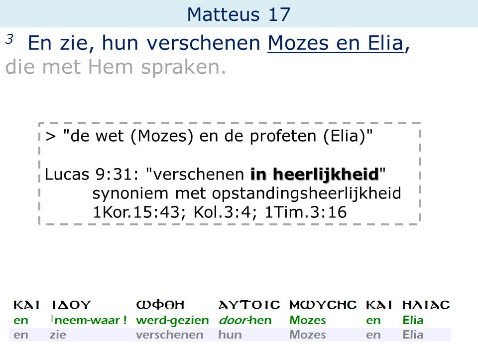 Matteus 17 3 En zie, hun verschenen Mozes en Elia, die met Hem spraken. >