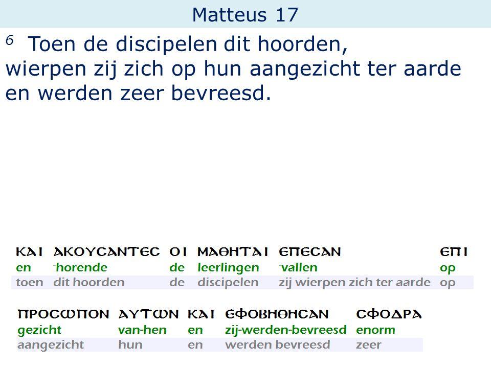 Matteus 17 6 Toen de discipelen dit hoorden, wierpen zij zich op hun aangezicht ter aarde en werden zeer bevreesd.