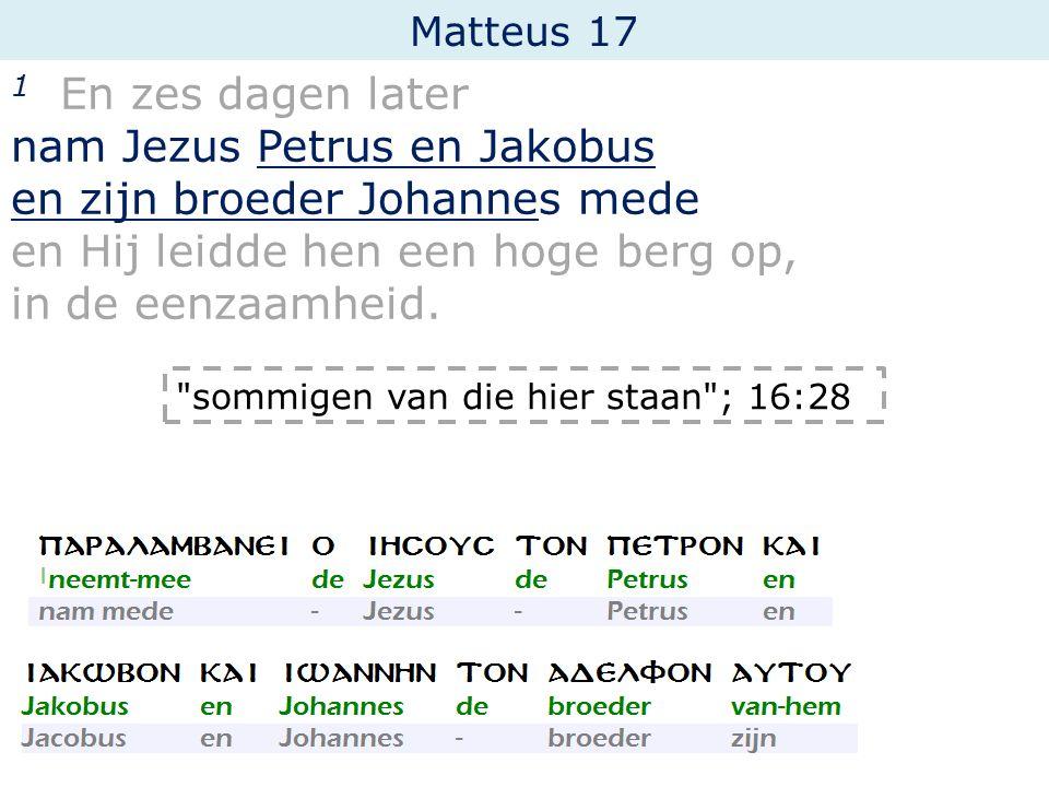Matteus 17 1 En zes dagen later nam Jezus Petrus en Jakobus en zijn broeder Johannes mede en Hij leidde hen een hoge berg op, in de eenzaamheid.
