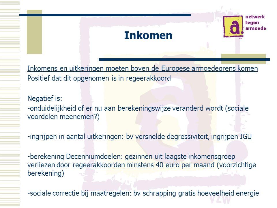 Inkomen Inkomens en uitkeringen moeten boven de Europese armoedegrens komen Positief dat dit opgenomen is in regeerakkoord Negatief is: -onduidelijkheid of er nu aan berekeningswijze veranderd wordt (sociale voordelen meenemen?) -ingrijpen in aantal uitkeringen: bv versnelde degressiviteit, ingrijpen IGU -berekening Decenniumdoelen: gezinnen uit laagste inkomensgroep verliezen door regeerakkoorden minstens 40 euro per maand (voorzichtige berekening) -sociale correctie bij maatregelen: bv schrapping gratis hoeveelheid energie