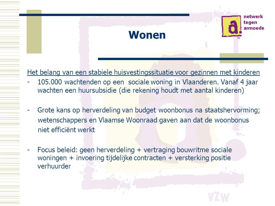 Wonen Het belang van een stabiele huisvestingssituatie voor gezinnen met kinderen -105.000 wachtenden op een sociale woning in Vlaanderen.