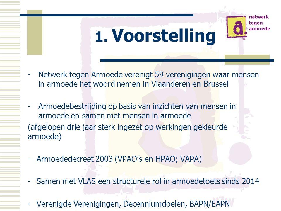 1. Voorstelling -Netwerk tegen Armoede verenigt 59 verenigingen waar mensen in armoede het woord nemen in Vlaanderen en Brussel -Armoedebestrijding op