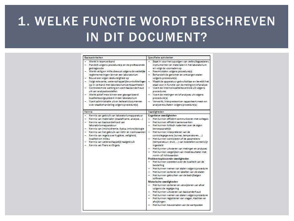 1. WELKE FUNCTIE WORDT BESCHREVEN IN DIT DOCUMENT?