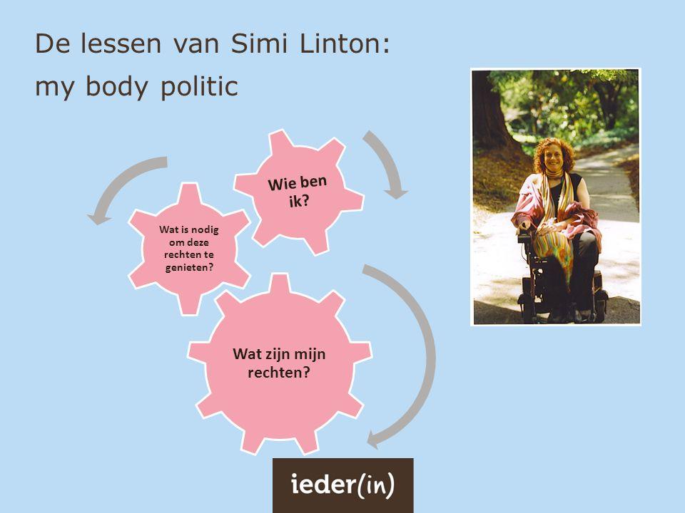 De lessen van Simi Linton: my body politic Wat zijn mijn rechten? Wat is nodig om deze rechten te genieten? Wie ben ik?