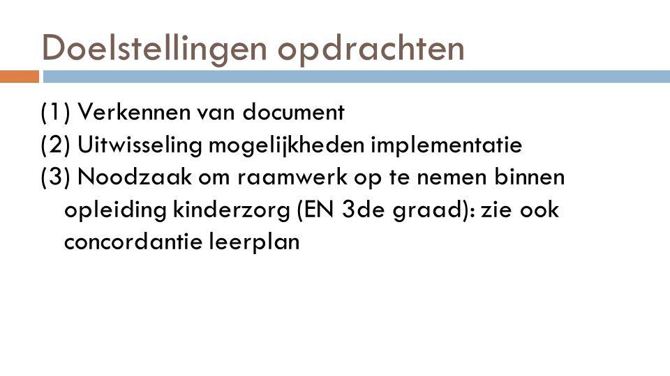 Doelstellingen opdrachten (1) Verkennen van document (2) Uitwisseling mogelijkheden implementatie (3) Noodzaak om raamwerk op te nemen binnen opleidin