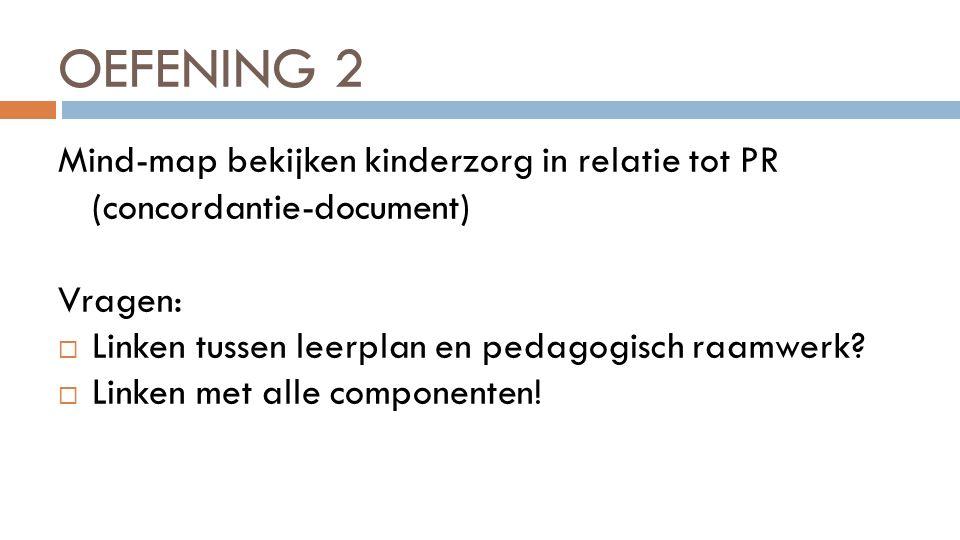 OEFENING 2 Mind-map bekijken kinderzorg in relatie tot PR (concordantie-document) Vragen:  Linken tussen leerplan en pedagogisch raamwerk?  Linken m