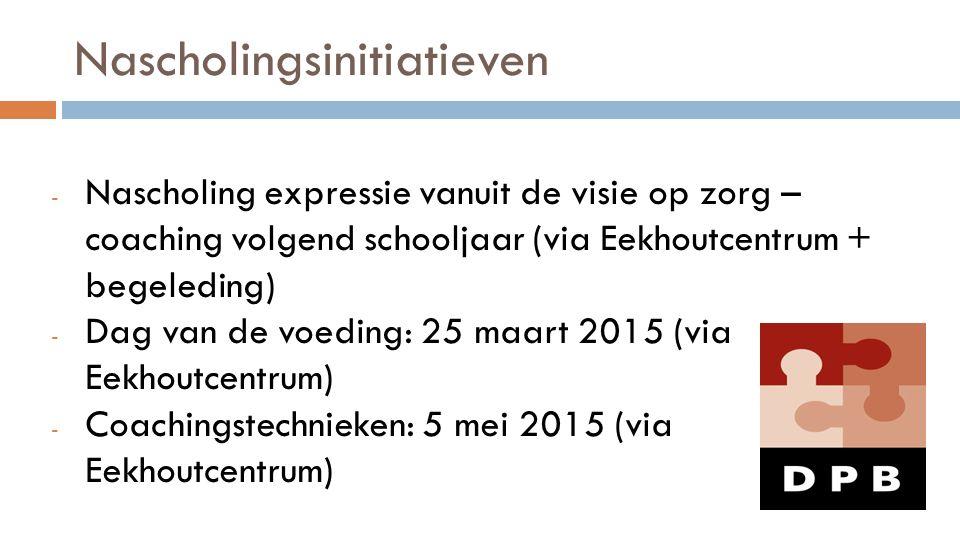 Nascholingsinitiatieven - Nascholing expressie vanuit de visie op zorg – coaching volgend schooljaar (via Eekhoutcentrum + begeleding) - Dag van de vo