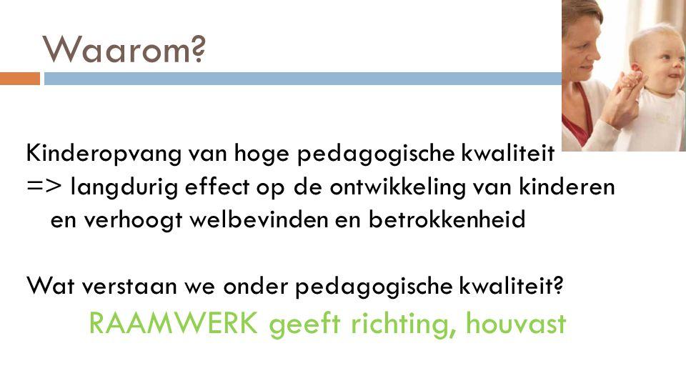 Waarom? Kinderopvang van hoge pedagogische kwaliteit => langdurig effect op de ontwikkeling van kinderen en verhoogt welbevinden en betrokkenheid Wat