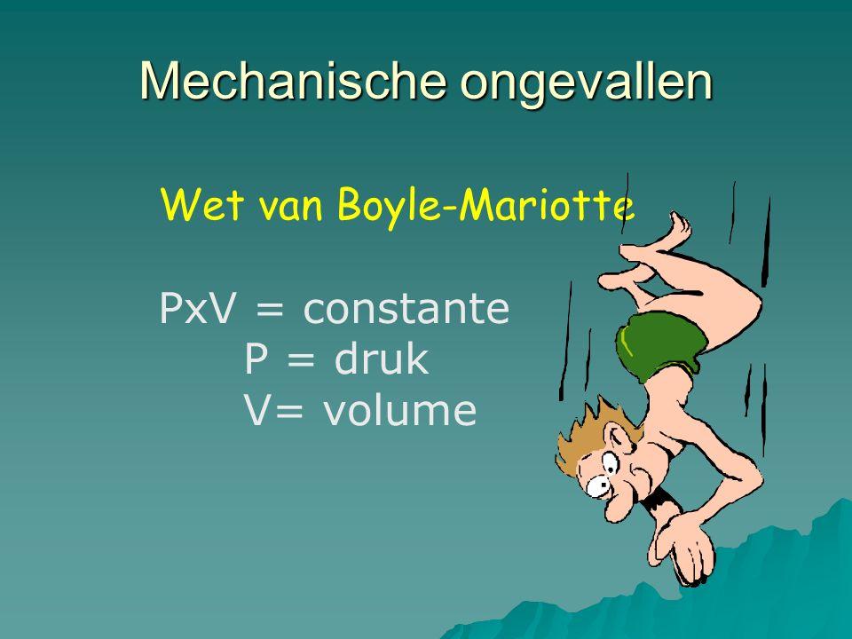 Mechanische ongevallen Wet van Boyle-Mariotte PxV = constante P = druk V= volume
